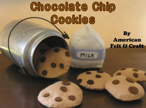 Felt Chocolate Chip Cookie Tutorial - Lots more felt food patterns too