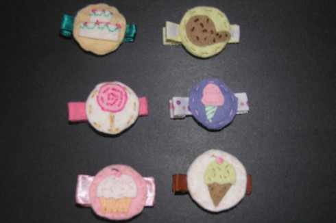 Felt hair barrettes American Felt and Craft