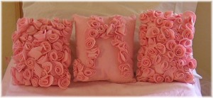 pink felt rose pillows