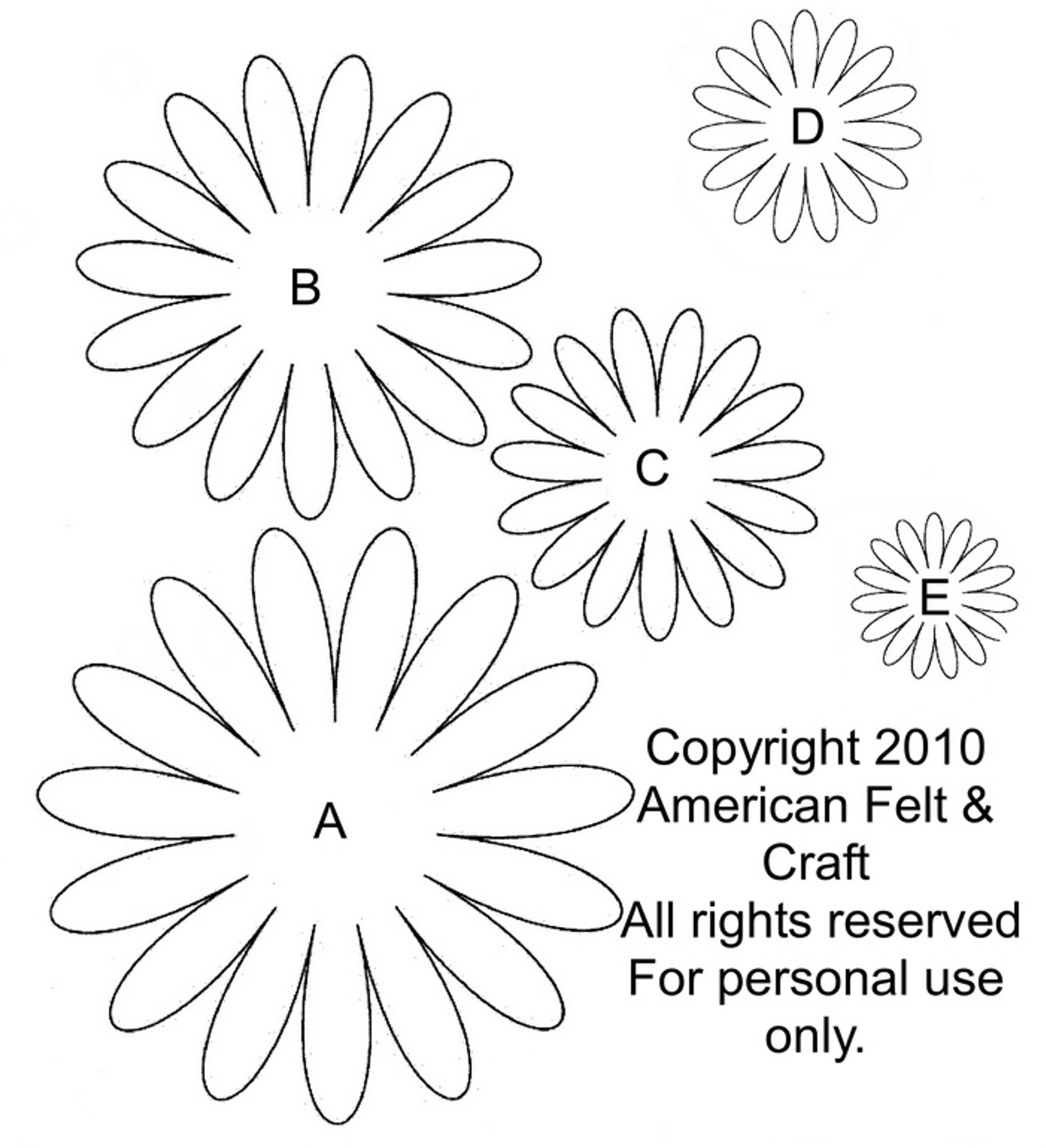 Felt gerbera daisies lazy daisies of summer american for Daisy cut out template