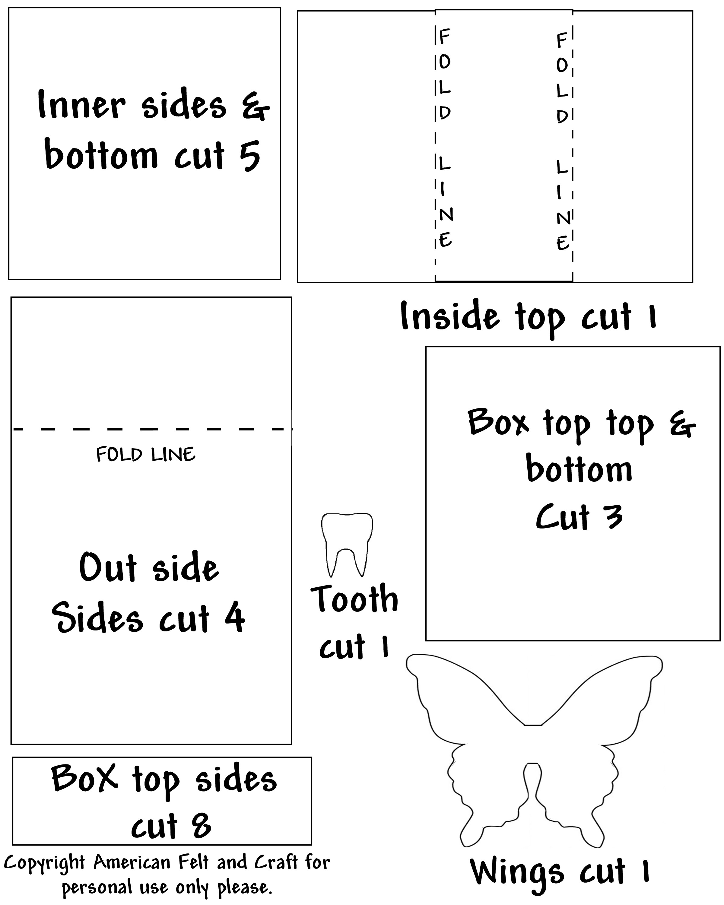 Tooth fairy box craft - Tooth Fairy Box Template