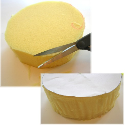 trim foam round with scissors