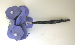 felt flower bunches taped