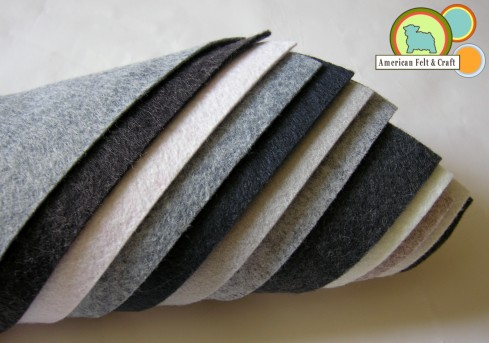 Gray felt in 11 colors and hues