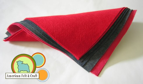 crafting felt wool reds, and blacks