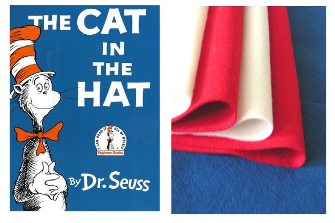 Felt colors matching the cat in the hat