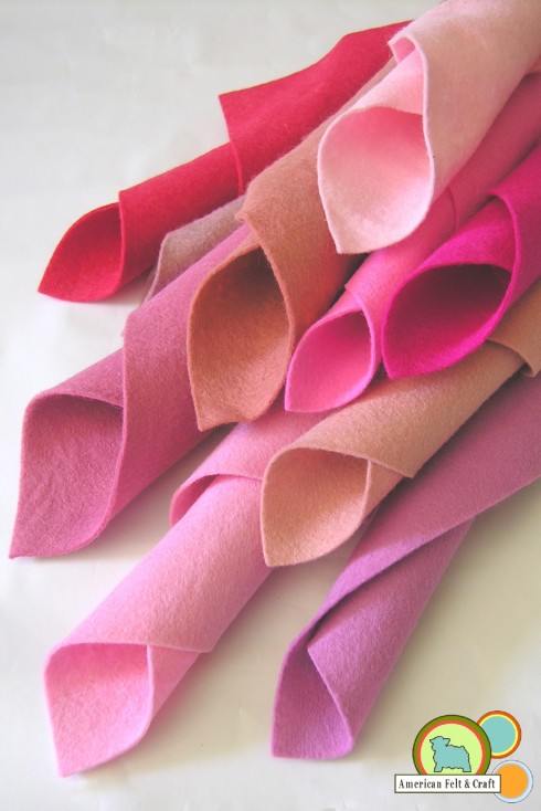 Pink Wool Felt Sheets from American Felt and Craft