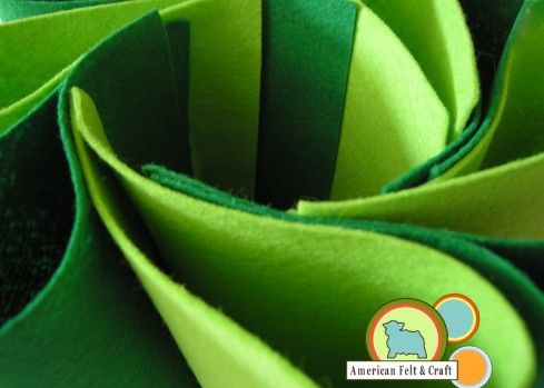 Wool Blend Felt Sheets in Green Hues March 2012