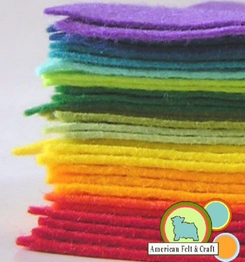 Rainbow Wool Blend Felt St. Patrick's Day 2012
