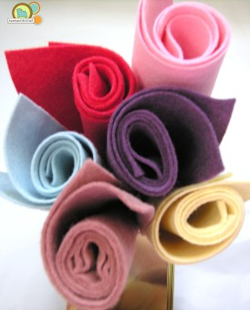 Rolls of wool craft felt spring colors
