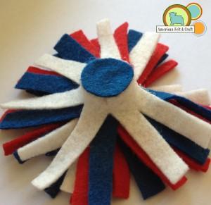 How to make felt firecracker hair clips - glue base to firecracker bottom