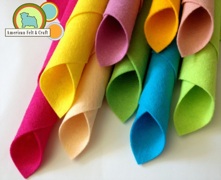 wool felt sheets bright colors AFC