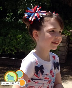 Red, White and Blue felt firework hair clips tutorial