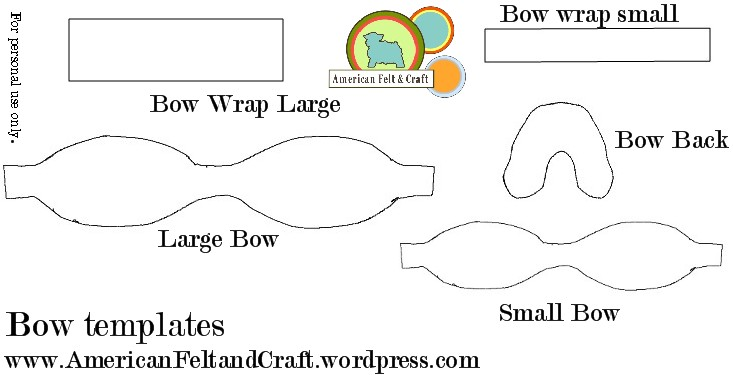 felt bow tie template - no sew wool felt bows bowties and shoe clips american