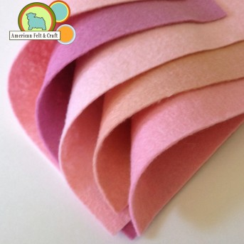 A selection of pink wool blend felt from American Felt and Craft
