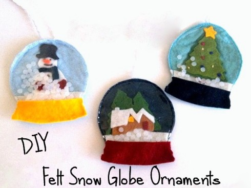 Felt snow globe Christmas ornament