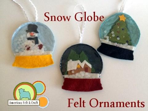 Free Felt Snow Globe Ornament Pattern - American Felt and Craft - The Blog
