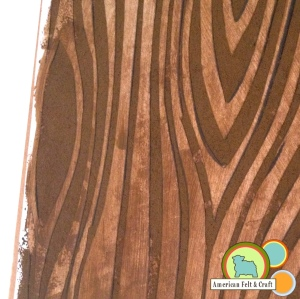 Wood grain stenciled felt using freezer paper- American felt and Craft the blog