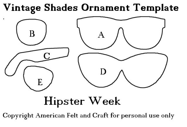 felt glasses ornament pattern