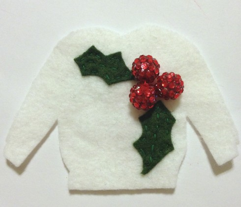 Holly Berry Sweater Ugly Sweater Felt Ornament Tutorial