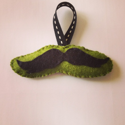 Easy felt ornaments for Christmas Hipster Mustache
