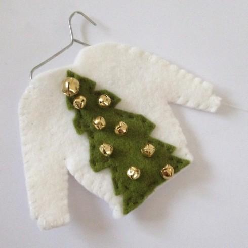 ugly sweater felt ornament  jingly tree