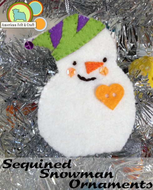 Felt ornament tutorial and template Sequined snowmen.