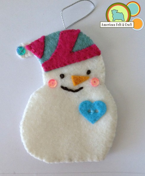 AFC felt snowman ornament tutorial and template 2013