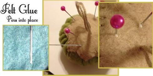 Glue Using felt glue - glue pins to pincushion for safety