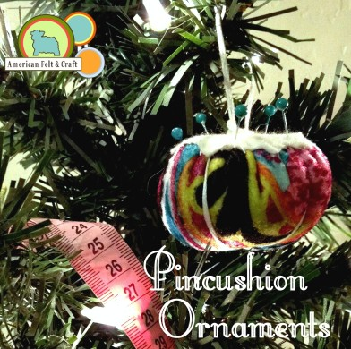 Pint Sized Pincushion felt Christmas ornaments DBW