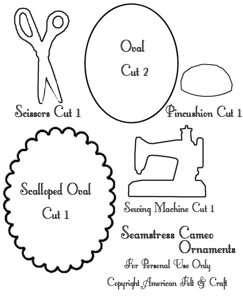 Cameo Felt Ornament Pattern Templates