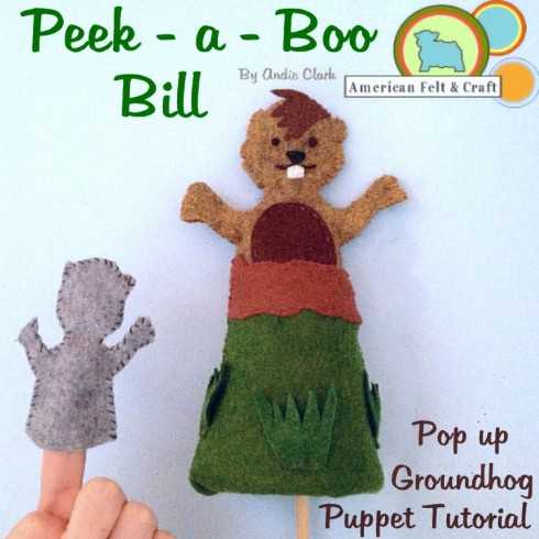 Peek a Boo Bill - Felt groundhogs day puppet tutorial with shadow finger puppet.