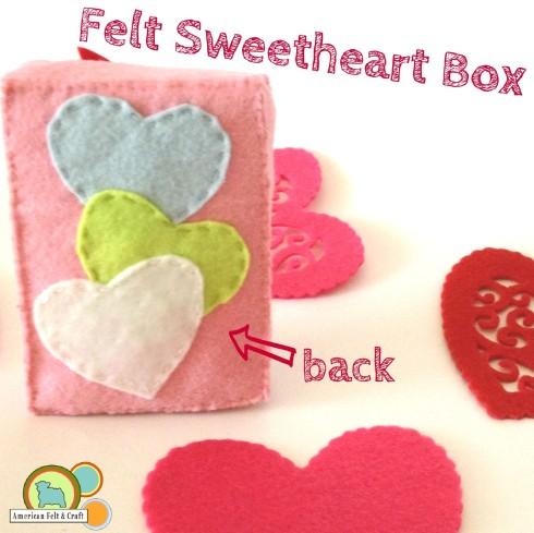 DIY felt valentines day sweetheart box back