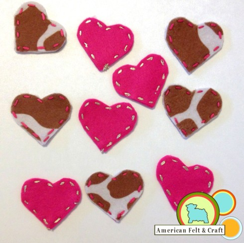 felt heart shapes