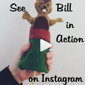 Felt puppet toy in action