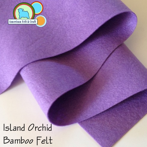 A vibrant purple - Island Orchid bamboo felt fabric  is available in fat quarter yards.