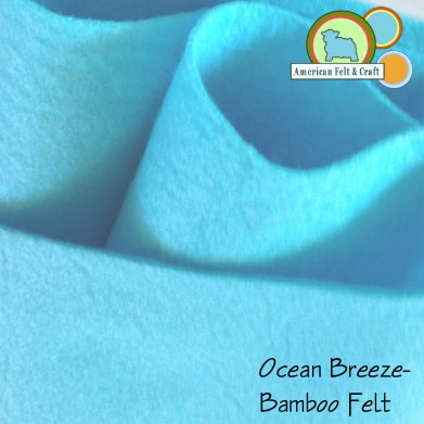 Ocean Breeze, a bright aqua bamboo felt fabric