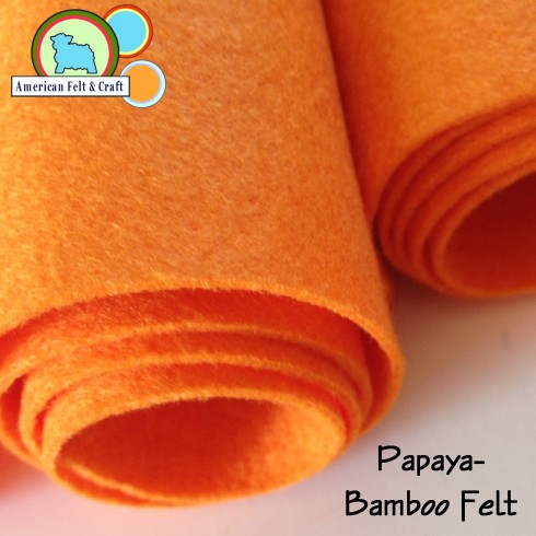papaya - a vibrant orange bamboo felt