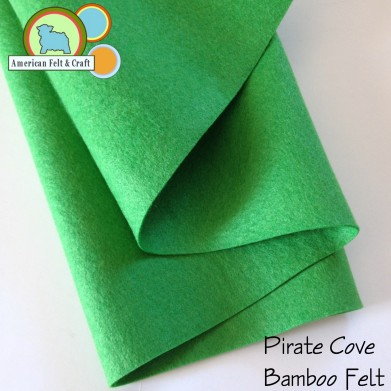 Pirate cove is a bright spring green bamboo felt fabric