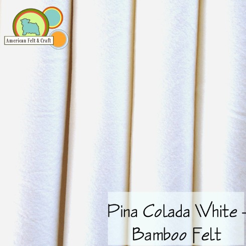 Pina Colada is a true bright white bamboo felt fabric with a silky sheen and soft finish.