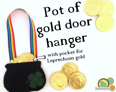 Pot Of Gold Door Hanger Tutorial - W/ pocket for leprechaun gold.
