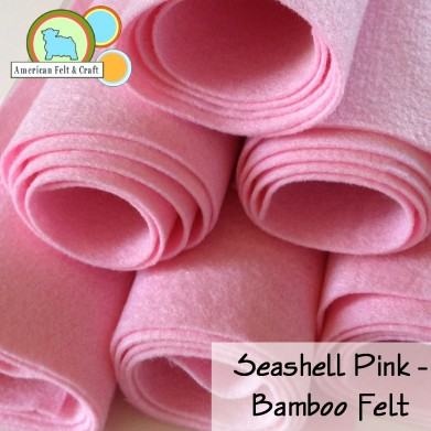 Seashell pink is a pale delicate pink bamboo felt with a lovely sheen.