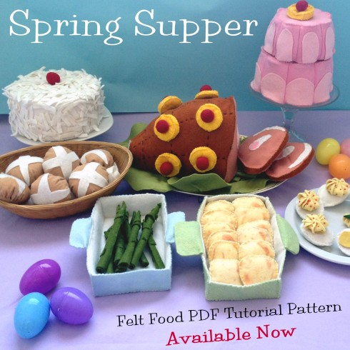 Meet our newest arrival - Spring Supper Felt Food PDF pattern from American Felt and Craft