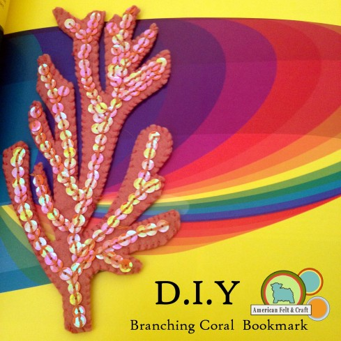 Diy branching coral bookmark from felt.