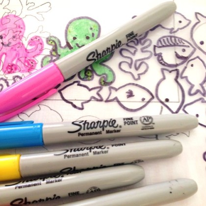 draw and color sea  shapes onto shrink film