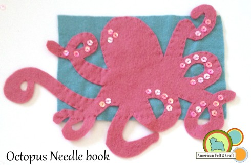 Felt Octopus needle book felt craft tutorial.