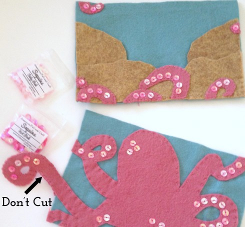 Sides of felt needle book tutorial - Octopus