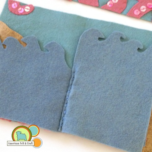 Add felt pages to needle book inside cover.  Felt Needle book tutorial