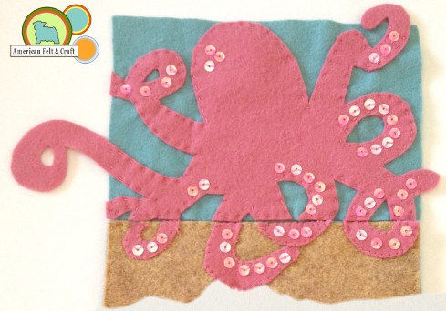 Add tentacles to felt base.  Felt Octopus Needlebook