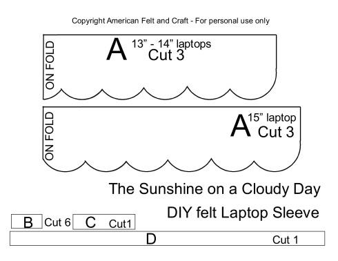DIY laptop sleeve template - felt scallops